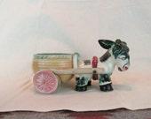 """Vintage Japanese Ceramic Pottery Mid Century Donkey with Cart ~ Donkey Planter ~ Signed on Bottom ~ 9 1/2"""" Ceramic Donkey Cart from Japan ~"""