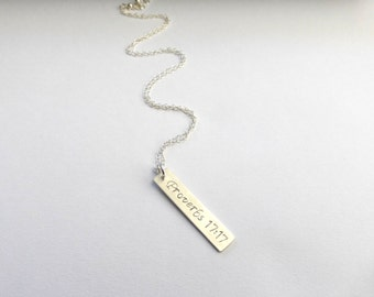 Silver Bar Necklace with Name, Personalized Necklace, Mommy Necklace, Nameplate, Celebrity Inspired, Personalized Jewelry by m. frances