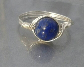 LG Lapis Lazuli  Argentium Sterling Silver Custom Sized Wire Wrapped Gemstone Ring