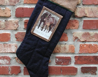 Hanging Denim Storage Stocking with Photo Pocket Not just for Christmas Any More, Western Stocking, Cowboy Stocking, Christmas Stocking