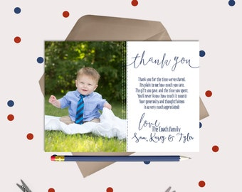 Baby Thank You Cards or Magnets · simple & cute photo card · pre-printed thank you message