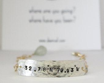 Custom Coordinate Bracelet, stamped and hammered