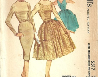 McCall 5517 / Vintage 60s Sewing Pattern / Dress Jumper / Size 14 Bust 34