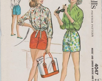Vintage 50s Sewing Pattern / McCalls 4047 / Shorts Blouse Playsuit Romper / Size 13 Bust 33