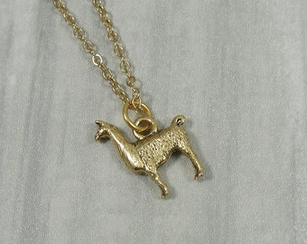 Llama Necklace, Gold Llama Charm on a Gold Cable Chain