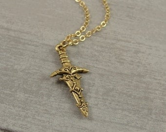 Excalibur Sword Necklace, Gold Excalibur Sword Charm on a Gold Cable Chain