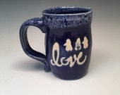LOVE Pottery Coffee Mug cobalt blue and white