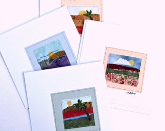SALE Greeting Card Set-Original Landscape Quilted Fabric