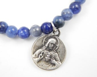 Handmade Blue Sodalite Jasper Beaded Sacred Heart of Jesus Stretch Bracelet - Catholic Charm Bracelet - Catholic Jewelry BR9