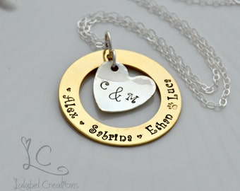 Hand Stamped Necklace, Gold and Silver Personalized Necklace, Washer Necklace, Personalized Jewelry, Personalized Gifts, Family Necklace
