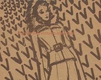vintage 1970's haute couture valentino fashion plate drawing illustration print retro picture designer women clothing original mid century