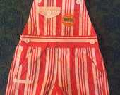 80s Salt Water Life Beachy Red and White Striped Overall Shorts, Kid's Size 3T