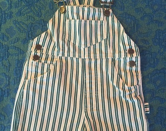 80s/90s Green and White Workwear Overall Shorts, Kid's Size 4T