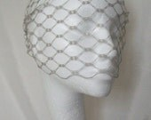 Pewter Silver Grey Vintage Waffle Weave 1940's - 1950's Style Birdcage Bandeau Brides Wedding Bridal Veil - Comb Attachment