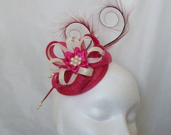 Cerise Fuchsia Pink and Ivory Pheasant Curl Feather Sinamay & Pearl Fascinator Mini Hat - 'Custom Made To Order' for a Wedding or the Derby