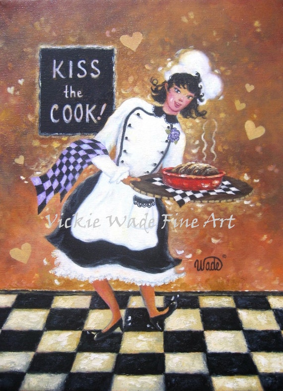 Lady Chef Art Print, girl chef, fat chef paintings, female chef, kitchen art, lady cook wall decor, Vickie Wade art