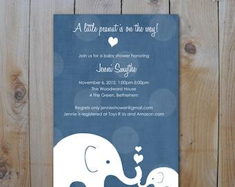 Elephant Baby Shower Invitation / Little Peanut Elephant and Momma /Navy  / Printable  Baby Shower Invitations / Item 10275