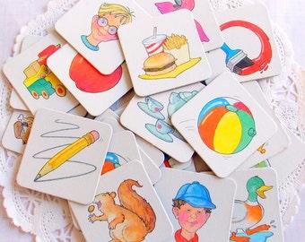 Vintage Milton Bradley Memory Game Pieces / Junk Journal / 10 Pieces