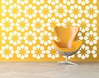 Flower Wall Decals,  Daisy Wall Decal, Floral Wall Decals, Retro Wall Decal, Modern Wall Decor, Modern Nursery Decor, Mid Century Modern