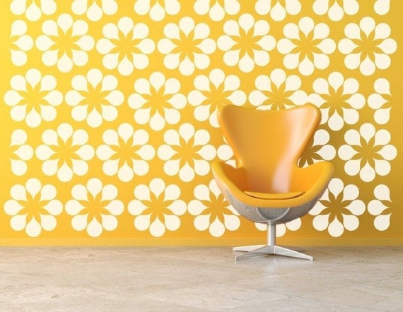 Flower Wall Decals,  Daisy Wall Decal, Floral Wall Decals, Retro Wall Decal, Modern Wall Decor, Modern Nursery Decor, Mid Century Modern