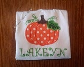 Twirly Vine Pumpkin - Personalized Applique Top - Halloween, Fall
