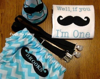 If You Mustache I'm... - Embroidered Top, Diaper Cover, Party Hat, or Set w/ Suspenders - Birthday Outfit - Personalize Name & Age