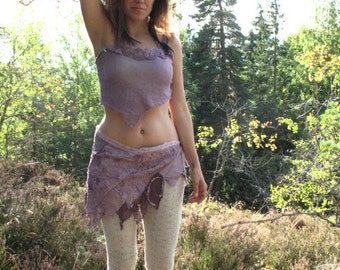 Purple Haze fairy hippie gypsy mini skirt, faerie festival tattered pixie skirt halloween