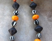 On SALE Black and White Tribal Necklace Big Black Ceramic Beads Old Black and White Striped Glass Beads from Nepal Amber Resin Ethnic Jewelr