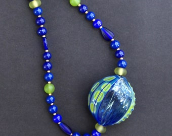 SALE Rare Huge Blue Green Millefiori Glass Pendant Necklace Lime and Ocean Dotted Bead Hand Blown w Blue Vintage Glass Beads Ocean Jewelry