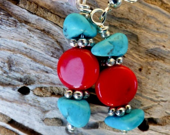 Southwestern turqouise and red earrings, simple, silver