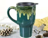 Forest green Travel mug with handle Woodland Rustic decor ceramic coffee cup cabin kitchen decor Winter farmhouse home moss pottery