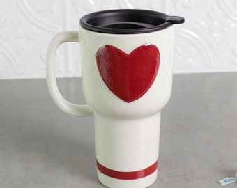 Large Ceramic Heart Mug, Gift for Dad, Travel mug with handle, Love mug, Coffee cup, Twist Closure Hard Lid Red White gift for her for mom