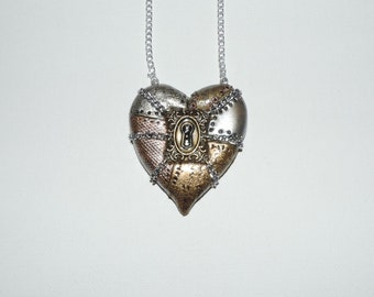 Large industrial steampunk chained locked heart necklace, valentines day gift