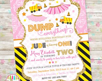 Dump Truck and Tutu Invitation, Trucks and Tutus Double Birthday Invitation, Joint Birthday Invite, Brother and Sister, Printable Invite