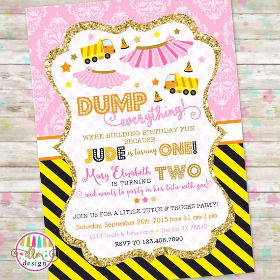 Dump truck and tutu invitation trucks and tutus double birthday il570xn filmwisefo Image collections