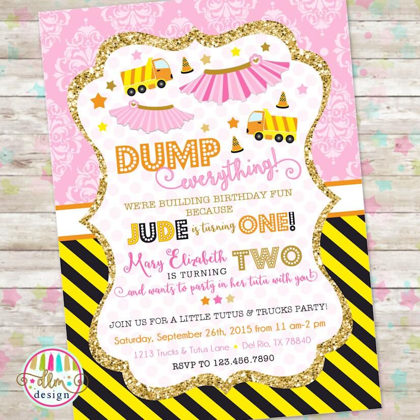Dump truck and tutu invitation trucks and tutus double zoom stopboris Images