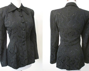 Amazing 1940's Film Noir black on black textured Jacket hourglass Hollywood chic  pinup girl cocktail jacket Size medium