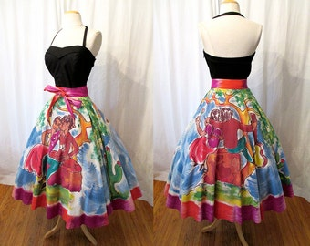 Best Ever 1950's Mexican Hand Painted Circle Skirt  Novelty Image Rockabilly VLV Pinup Mexi Skirt Size-Small-Medium