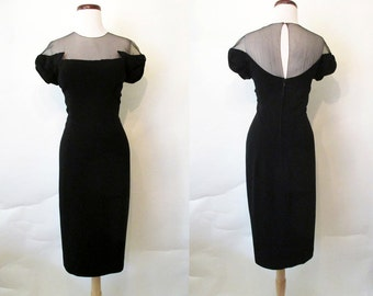 Chic 1950's Peggy Hunt Designer Black Curve Hugging Cocktail Party Dress with Elusion Neckline Rockabilly Vlv Pinup Hourglass Size-Large