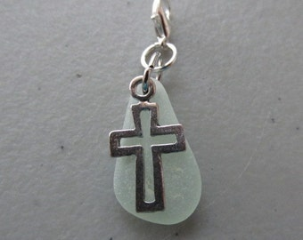 Charm Cross, Seaglass Cross, Beach Glass Cross Charm, Religious Charm, Easter Charm, Zipper Pull, Gift for Her, Crucifix Charm