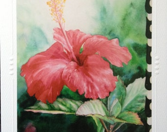 Hibiscus Art Card SET OF 5 - Note Card, Greeting, Blank, Aloha Hibiscus Hawaiian Tropical Flower Watercolor Art  By Christie Marie Elder