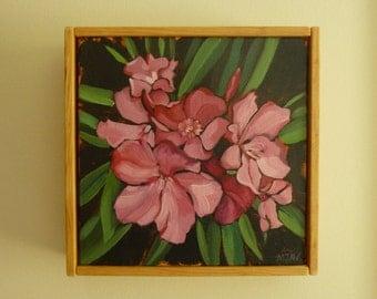Pink Oleander Painting 6x6