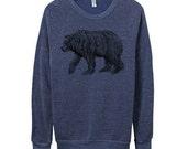 Mens California Bear Sweatshirt  - Blue Longsleeve Grizzly Bear - Blue Bear Sweater -  Small, Medium, Large, Extra Large