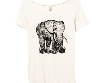 Womens Cute Elephant Tshirt - Elephant Scoop Neck - Eco Friendly - Bamboo - Organic Cotton - Small, Medium, Large, XL