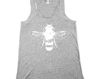 bee tank top, womens bee tank, bumble bee tank, honey bee tank, heather grey tank top, Small, Medium, Large, XL, 2X