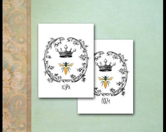 Napoleonic Bee Note Cards / Monogram / Queen Bee Crown Trellis Wreath / French Empire / Personalized Stationery / Set of 10 / Lining