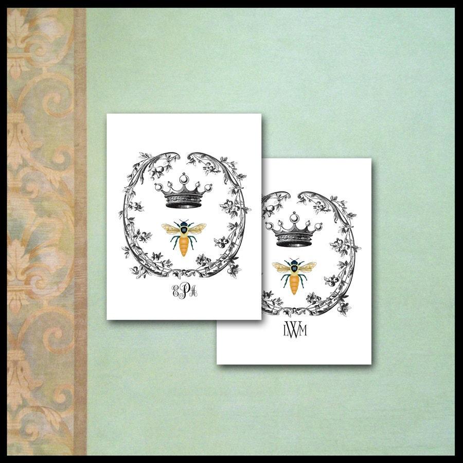 Napoleonic bee note cards monogram queen crown trellis