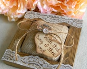 Rustic Ring Bearer Pillow Burlap Pillow Wood Heart Unique Rustic Wood Ring Bearer Wedding Keepsake Ring Holder With This Ring I Thee Wed