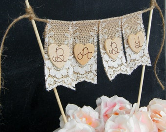 Baby Shower Cake Topper Burlap & Lace Bunting Flags Banner Wood Hearts Rustic Country Shabby Chic