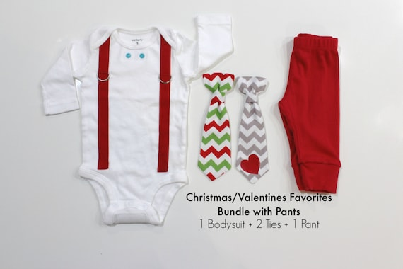 Baby Boy Christmas and Valentines Outfit with Pants